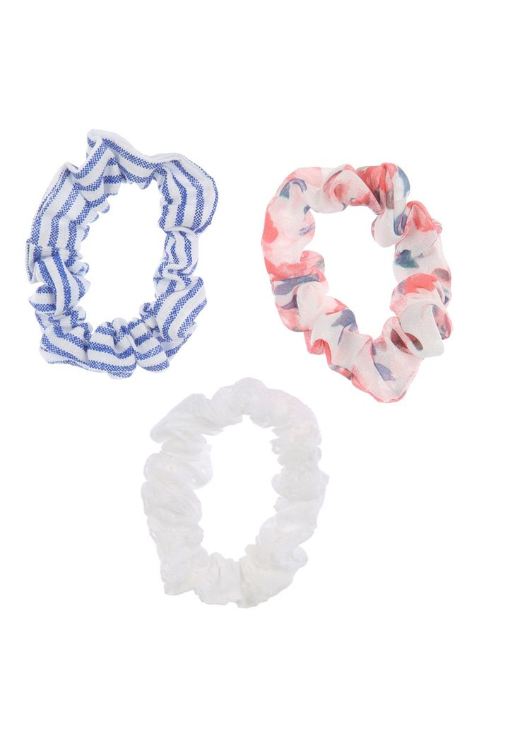 Z2018  This pack of women's floral scrunchies will guarantee you add some serious cuteness to her to her hairstyles this season, with these cute patterns! This pack...