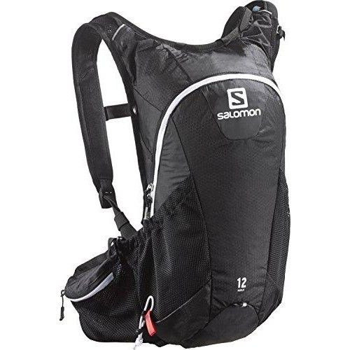 Salomon Agile Bag 12 Set, Black/Iron/White  Lightweight, stretch fit 12L #pack for #trail running, moves with your body and snuggly carries essentials for medium to long trail runs, Mountain bikes adventures or highly active sports.