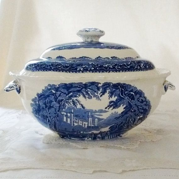 Masons Blue Vista Soup Tureen