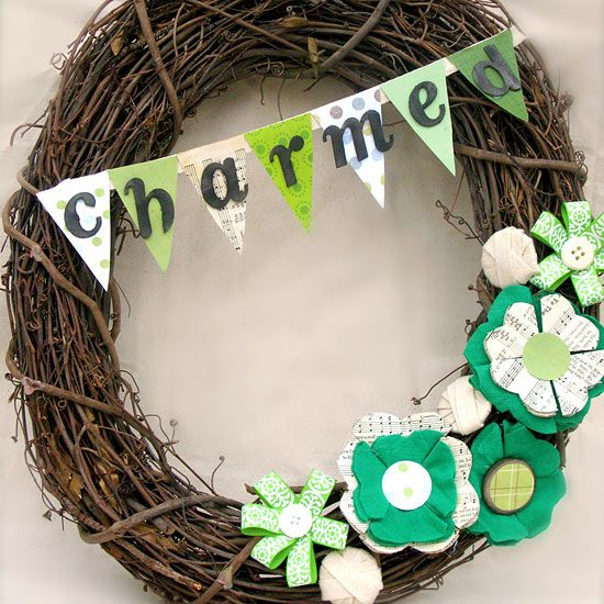 Sheet music and scrapbook paper give this wreath St. Patrick's Day style. More Irish-inspired decor: http://www.bhg.com/holidays/st-patricks-day/decorating/st-patricks-day-decor/?socsrc=bhgpin030413irishwreath=4