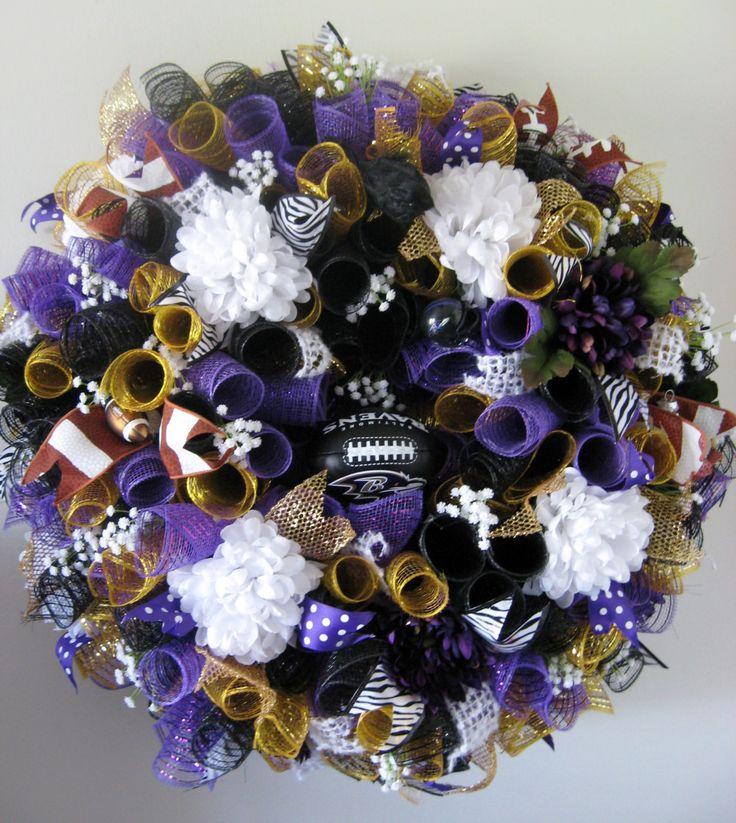 Baltimore Raven's Wreath, Raven's Fan, Raven's Wreath, Wreath by CustomWreathsNDecor on Etsy