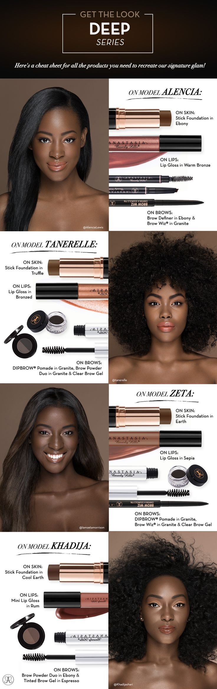 On model Alencia: On skin: Stick Foundation in Ebony. On lips: lip gloss in warm…