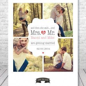 trouwkaartje met eigen foto's
