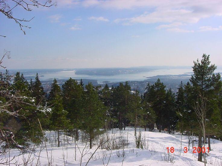 Dette bildet er tatt fra Holmenkollen. Oslo med Oslofjorden i bakgrunnen.