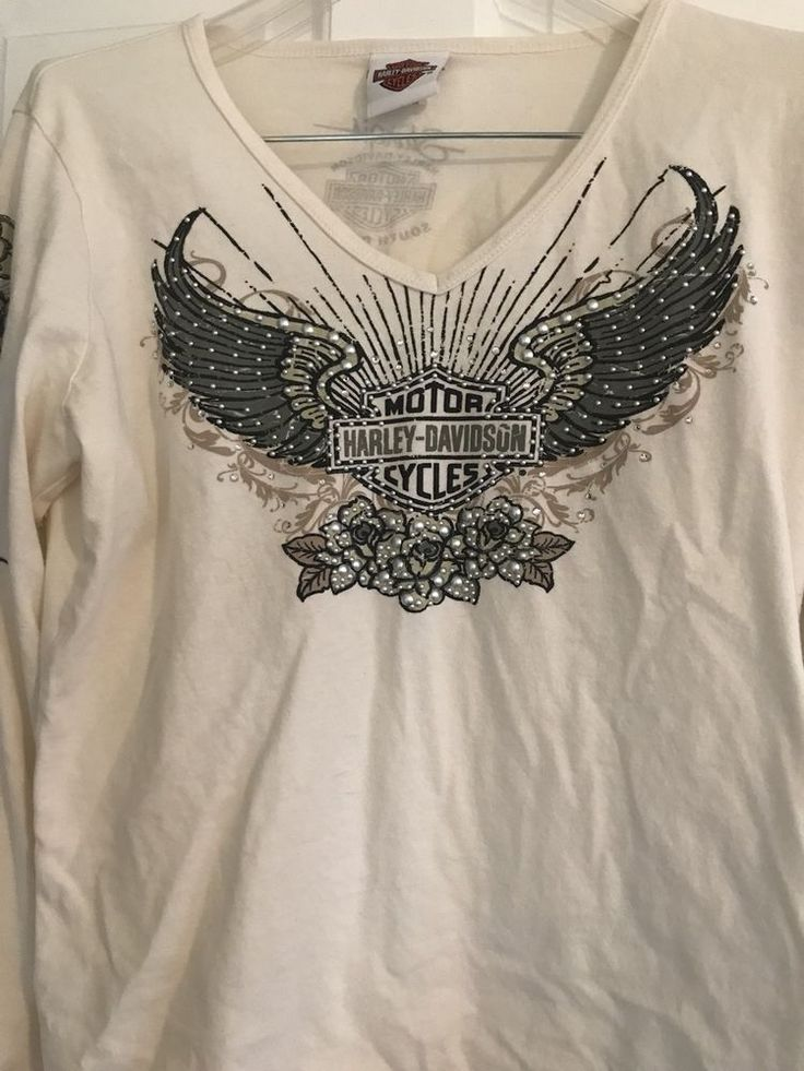 Womens L Harley Davidson Long Sleeve Top Cream Sturgis SD with bling distressed | Collectibles, Transportation, Motorcycles | eBay!
