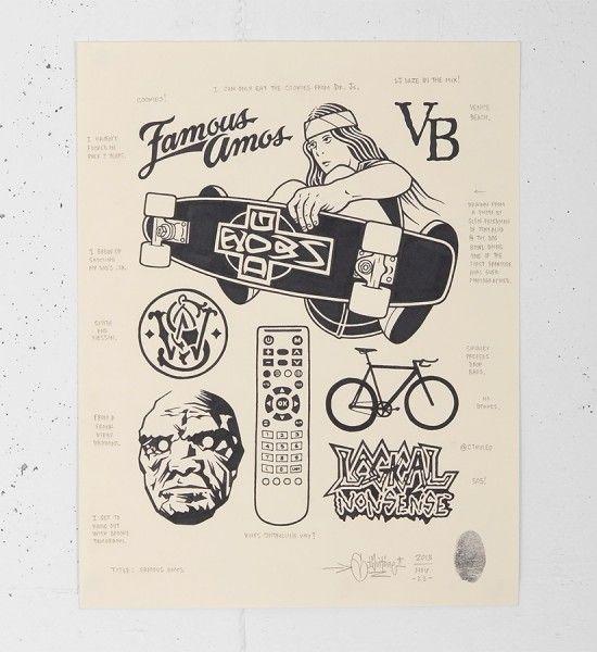 mike giant famous amos draw tattoo dessin rebel8 original artwork print pencil illustration