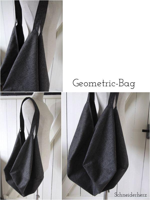 Tasche aus quadratischer Grundform (Schnitt: http://www.textilhemmers.de/blog/geometric_bag_-_naeh_mit_uns.html)