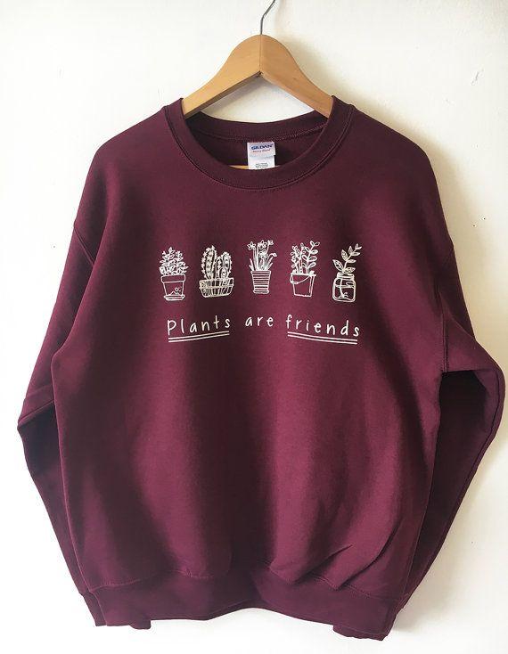 Pflanzen sind Freunde Sweatshirt Pullover hoher Qualität Siebdruck Einzelhandel Qualität Soft unisex Größen globale Schiff Vegan Pullover Pflanzen Bäume