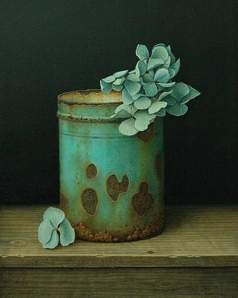 ❀ Blooming Brushwork ❀ garden and still life flower paintings - Aad Hofman Rusted Can with Hydrangeas 2012