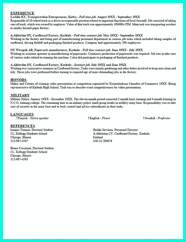A Job Resume Example - Examples Of Resumes