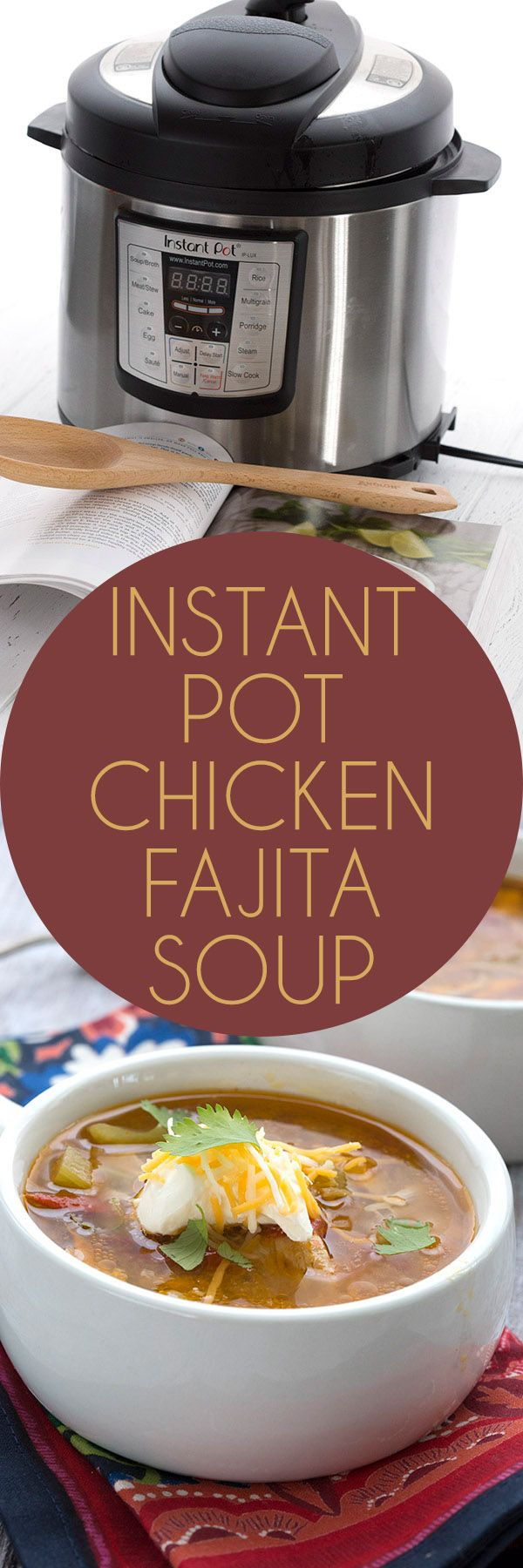 This fabulously easy low carb Chicken Fajita Soup is a crowd pleaser. Make it in your Instant Pot or your slow cooker! And you can win a copy of the new Trim Healthy Table cookbook too! #TrimHealthyTable #ad  via @dreamaboutfood
