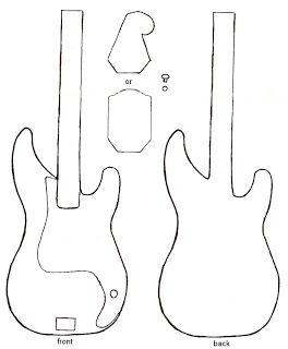 Molde de guitarra, para fazer almofada ou aplicação em camisetas.