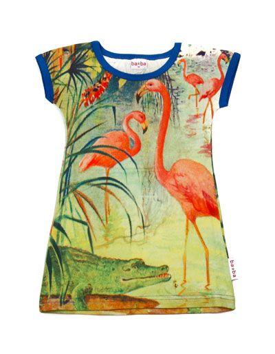 Baba Babywear - Green dress with flamingos - Pepatino.be
