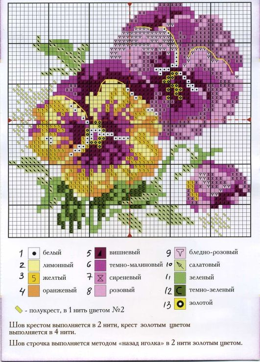 Pansies Purple and Yellow 2. Site and instruction sheet are in Russian. Easy to figure out.