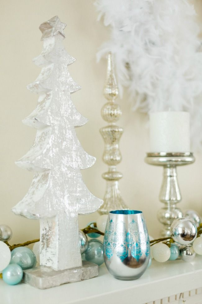 silver and blue mantel decorations for holiday
