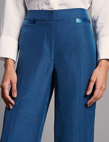 3a3c940810 Linen Rich Ankle Grazer Straight Trousers