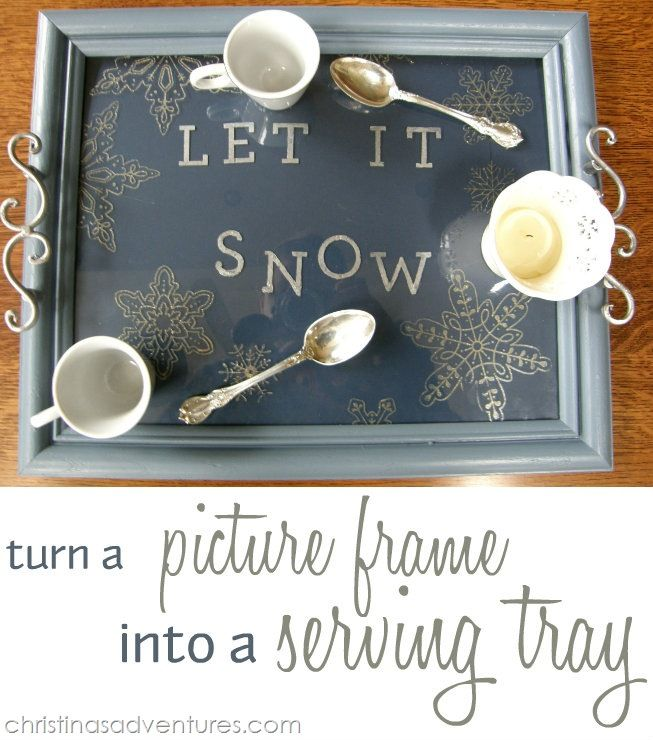 Turn a picture frame into a holiday themed serving tray!