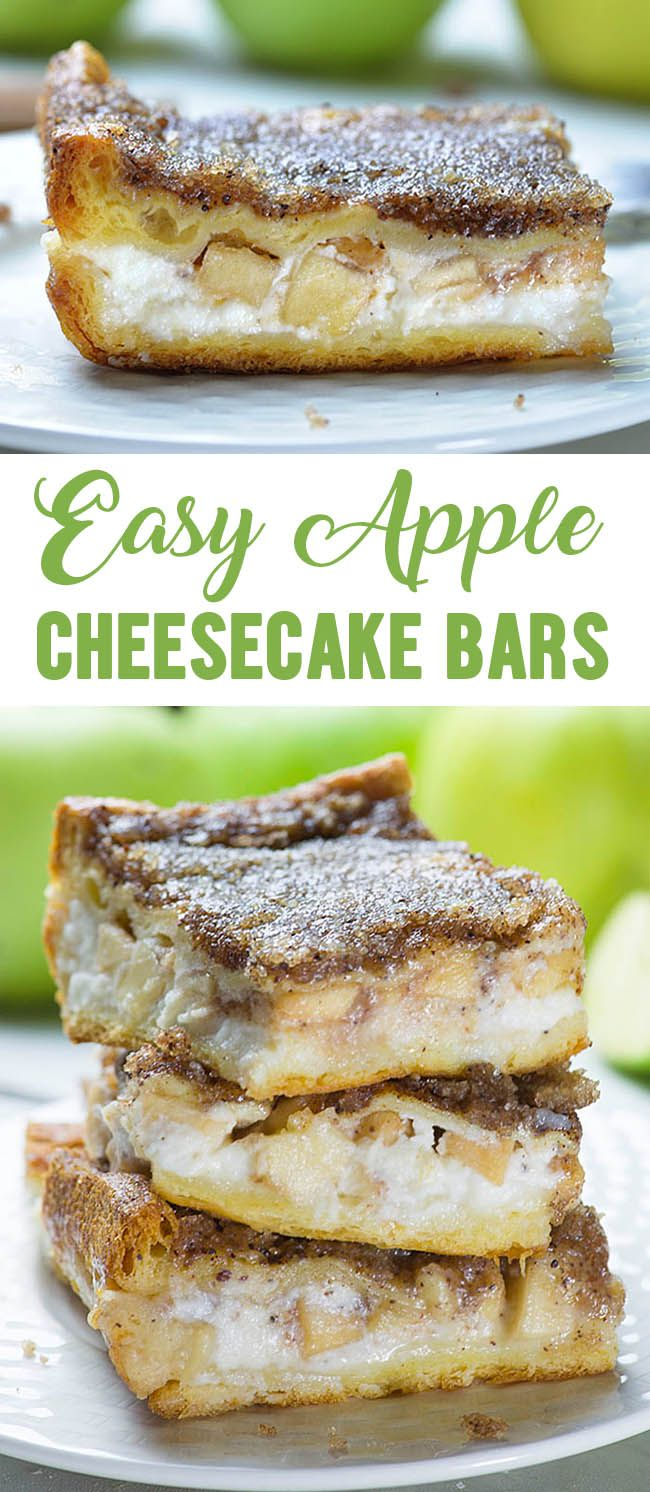 Easy Apple Cheesecake Bars are delicious fall dessert with crescent rolls, cream cheese, fresh apples and buttery cinnamon sugar topping. Save leftovers for breakfast!