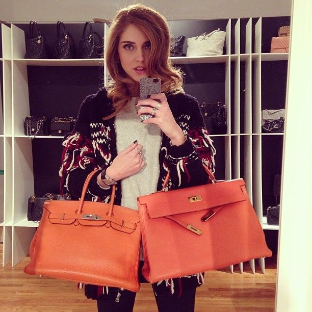 cheap party handbags - Chiara Ferragni: Hermes orange Birkin or Kelly bag? Best selection ...
