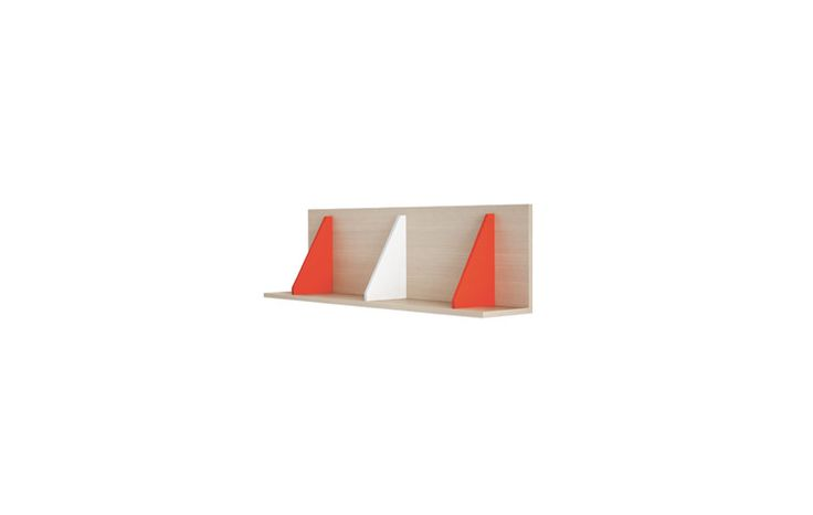 Pitagora wall unit in natura, bianco and pomodoro finishes. #nidi #nididesign #kids #hanging #kidsroom #room #fun #colors #furniture #design