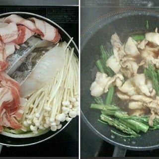 肉、魚が半額だったので水炊きに。 何とか入れてみたものの、やはり無理があったので、豚バラとアスパラのポン酢炒めで出来るまでのつまみとしてやり過ごす事に。 #肉 #魚 #半額 #水炊き #豚バラ #鱈 #白菜 #えのき #豆腐 #昆布だし #無理があった #アスパラガス #ポン酢 #つまみ #やり過ごす #夜ごはん