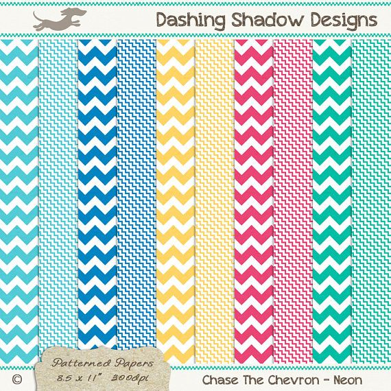 A4 Chase The Chevron in Neon Colours Digital Printable Scrapbook Craft Paper | Patterns: Chevron, Zig Zag. This instant download digital paper pack includes ten A4 papers with two different chevron designs in five neon colours which are exclusive to my A4 collection - Lagoon, Cobalt, Citrus, Pomegranate and Jade. All sheets have a very subtle and smooth texture, designed to look like paper you'd find in any good quality stationery store.