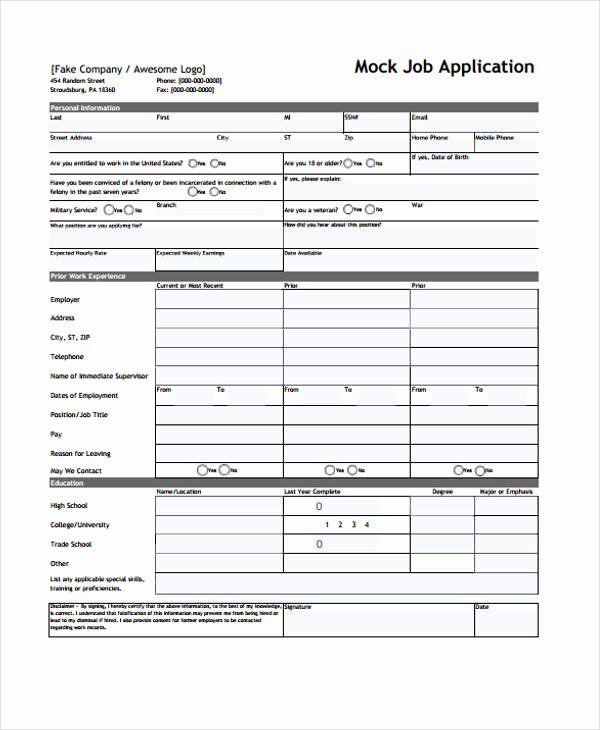 Blank Job Application Form Best Of 9 Sample Standard Job Application Form Free Sample Job Application Form Job Application Printable Job Applications