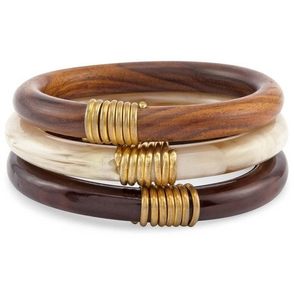 Chico's Maude Bangles ($39) ❤ liked on Polyvore featuring jewelry, bracelets, neutral, gold tone jewelry, tribal jewellery, chicos jewelry, wood bangle bracelet y wood bangle