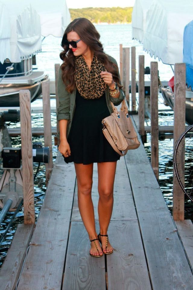 Black dress, leopard scarf, + green military jacket.