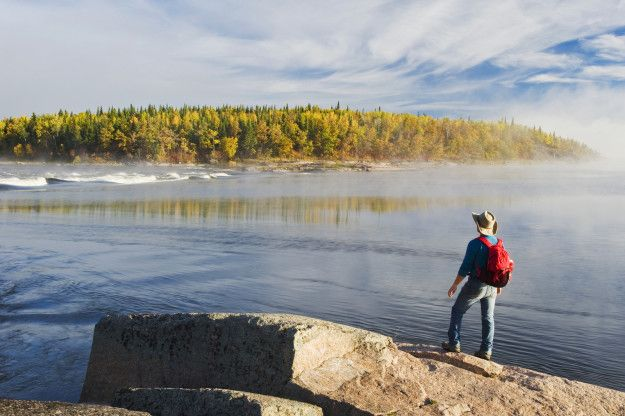 If you haven't stood on a rock and screamed as loud as you can, it's surprisingly cathartic. Namau Lake, Manitoba. #exploremb