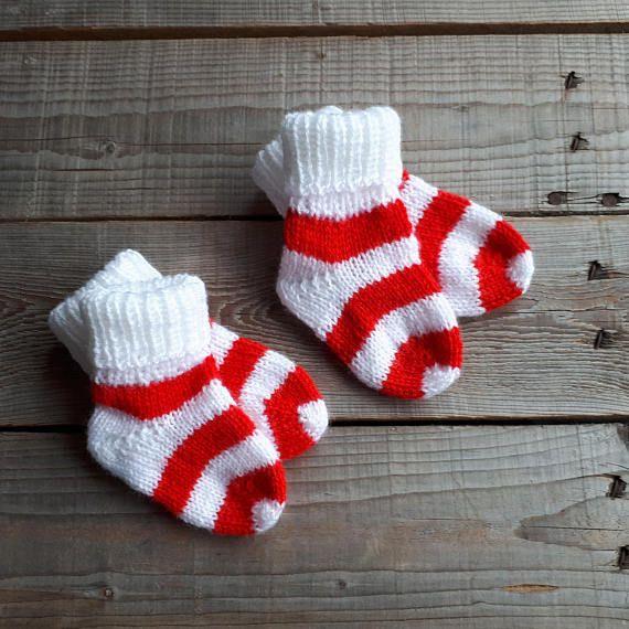 Christmas baby socks Knit baby socks baby girl socks baby