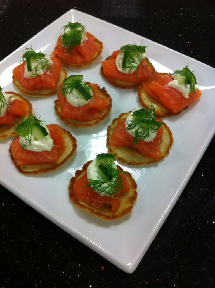 Smoked Salmon blinis with pickled cucumber & dill creme fraiche