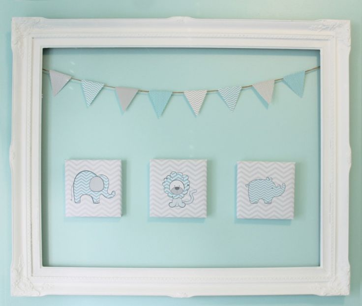 Adore this wall art in an aqua and gray chevron nursery! #nursery #wallartAnimal Art, Nursery Wall Art, Diy Artworks, Chevron Nurseries, Projects Nurseries, Nurseries Wall Art, Nurseries Wallart, Baby Stoy, Gray Nurseries