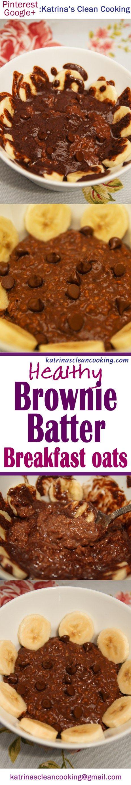 Healthy Chocolate Brownie Batter Breakfast Oats #Healthy #Breakfast #chocolate #lowsugar #sugarfree