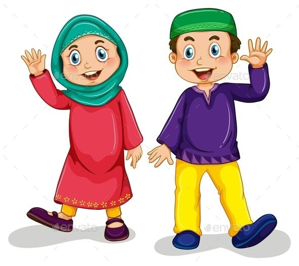 Muslim Boy and Girl (JPG Image, Vector EPS, CS, boy, cartoon, characters, children, costume, culture, cute, dress, girl, happy, hat, islam, islamic, isolated, kid, muslim, on white, outfit, people, person, picture, religion, religious, scarf, smiling, tradition, traditional, waving, white, white background)