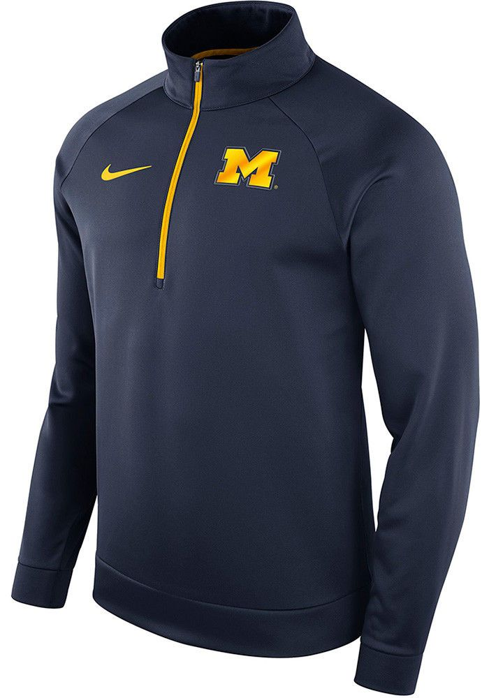454a419e1 Nike Michigan Wolverines 1 4 Zip Therma Top Mens Pullover XL Navy  Nike   MichiganWolverines