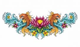 Lotus Koi Lower Back Tattoo
