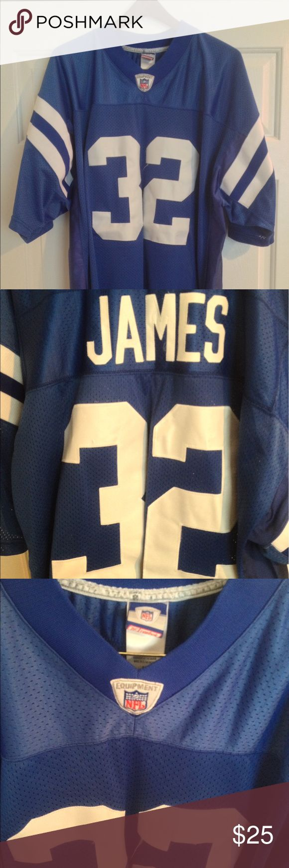 Reebok Indianapolis Colts Edgerrin James Jersey On Field Jersey • Sewn Letters/Numbers • Excellent Condition • Size 54 Reebok Shirts Tees - Short Sleeve
