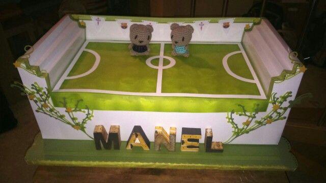 Pastel de pañales- campo de fútbol