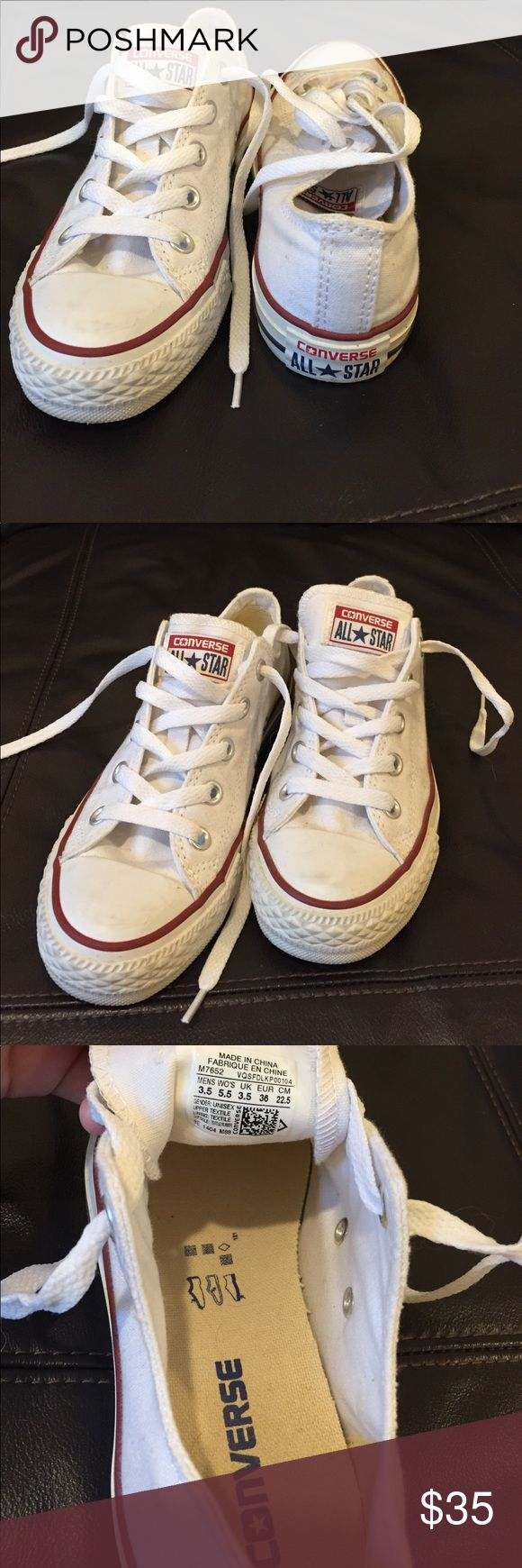 White low top converse White low top converse. Authentic! Only worn once or twice. In excellent condition. Women's 5.5. Original box not included. Will be cleaned up before delivery. Converse Shoes Sneakers