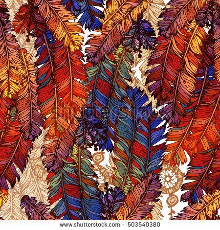 Boho feather seamless pattern.