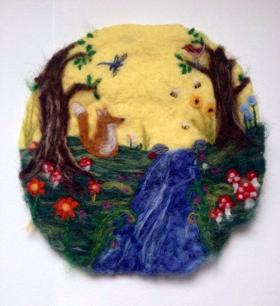 Contemplative Fox by stream  whimsical felted by radishandruth, $59.00