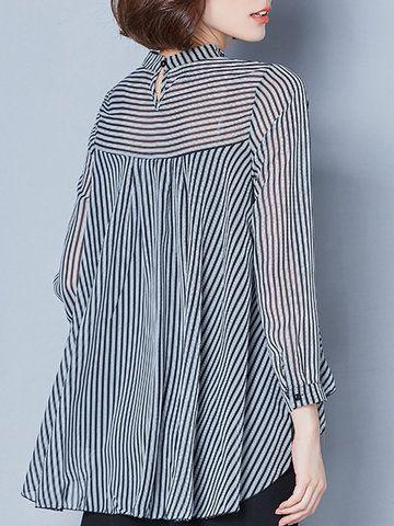 Casual Stripe Irregular Lapel Long Sleeve Blouses For Women