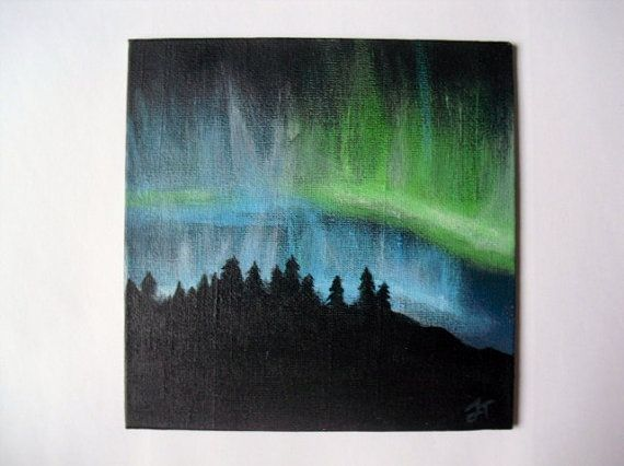 Northern lightning acrylic painting on 6x6 canvas.