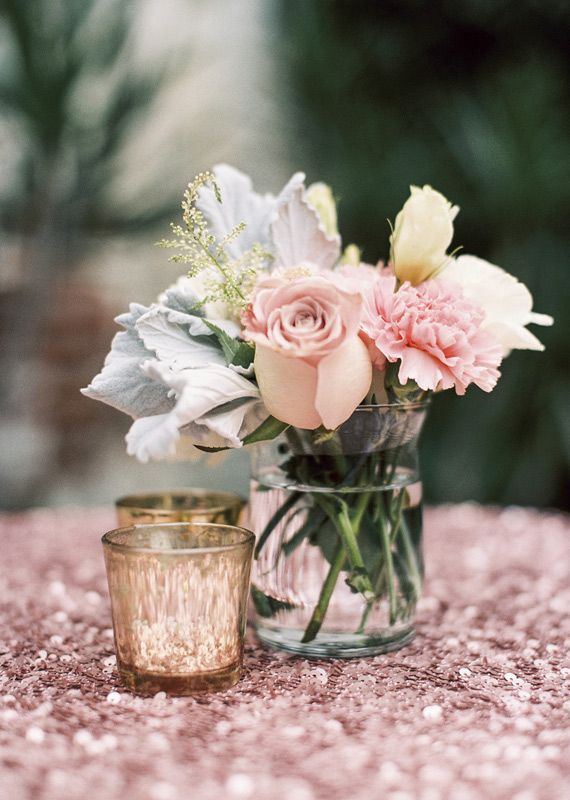 pink sequence table linen | photos by Braedon Flynn | 100 Layer Cake