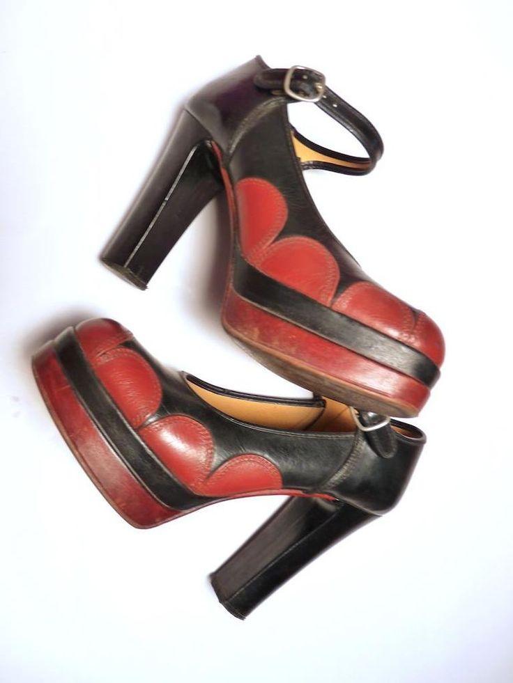 Vtg 70s GLAM ROCK Vegan Vinyl US 7.5 8 UK 5 5.5 DECO BLACK RED PLATFORM Shoes