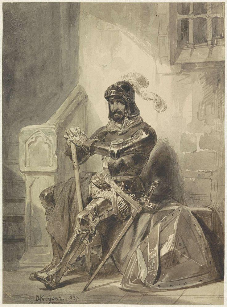 Zittende middeleeuwse ridder in harnas, Nicaise De Keyser, 1837