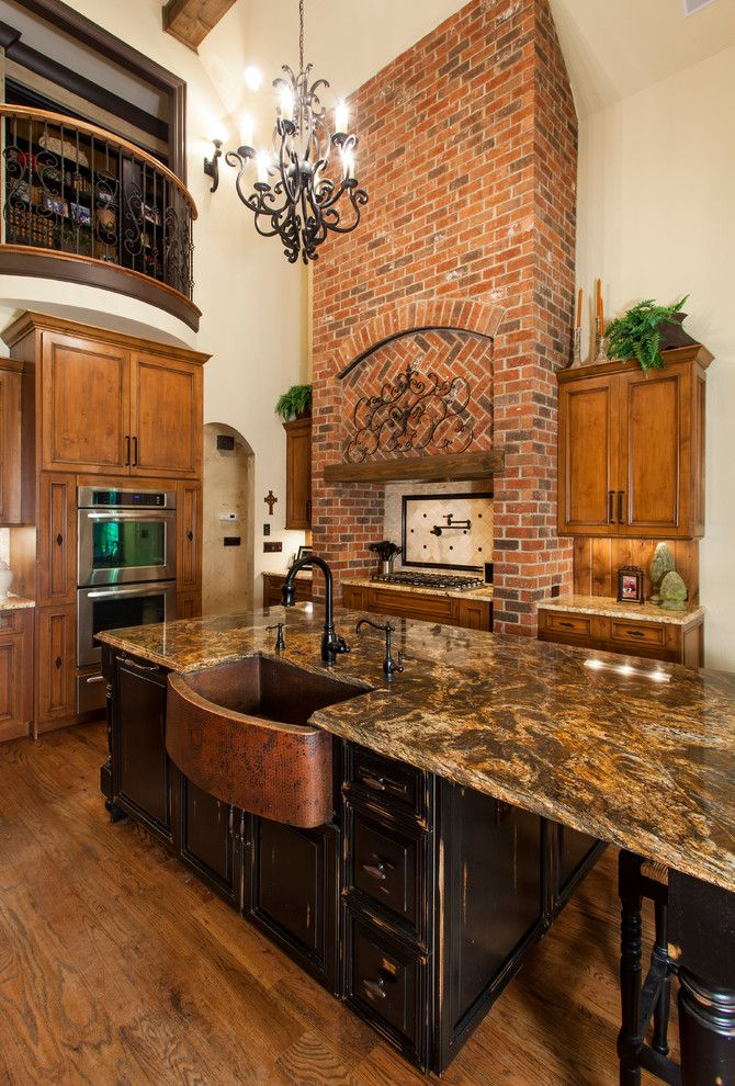 copper kitchen sinks Kitchen Traditional with black island