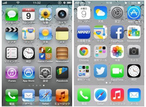図1 iOS 6 (左)とiOS 7 (右)の違いをiPhoneのホーム画面で見る 従来のiOS 6では立体感があったが、iOS 7ではフラットな感じに変わっている