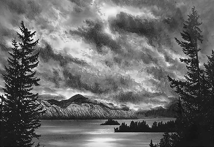 Photo Realistic Landscape Drawings In Graphite By Doug Fluckiger Landscape Drawings Realistic Drawings Landscape Pencil Drawings